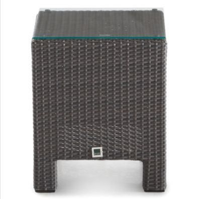Hand-woven all weather grey wicker make this side table perfect for any patio set.
