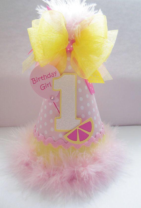 Polka Dot Pink Lemonade  Birthday Party Hat by SandysSpecialtyShop