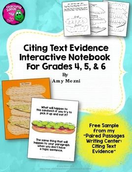 Freebie: Citing Text Evidence in Essay Writing Interactive Notebook Freebie - 4th 5th 6th grades  Is your class working on writing test prep?  My class is!  I know many states are beginning to test students on their ability to cite evidence across multiple texts, just like Florida's FSA writing test.