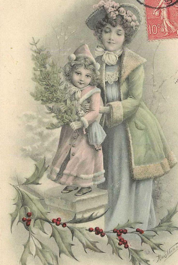 ретро открытки с рождеством картинки модельный ряд