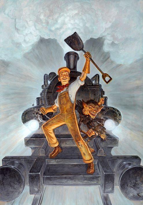 """Paul Kidby's cover art for Terry Pratchett's """"Raising Steam."""" https://i.imgur.com/vmjqfyJ.jpg"""