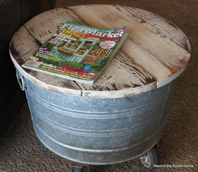Reclaimed wood and washtub by Beyond The Picket Fence~ cute little table with storage too!