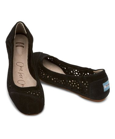 Another great find on Black Moroccan Suede Cutout Ballet Flat by TOMS