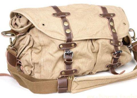 Satchel Bag Vintage Rugged Bike #Womens Canvas #Messenger - Light Khaki