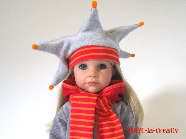 Zipfelmütze+Schal+Handschuhe - Set ✿ grau-rot von © MABE la Creativ - KIDS auf DaWanda.com