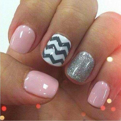 Pink Silver Glitter Black and White Chevron Nails