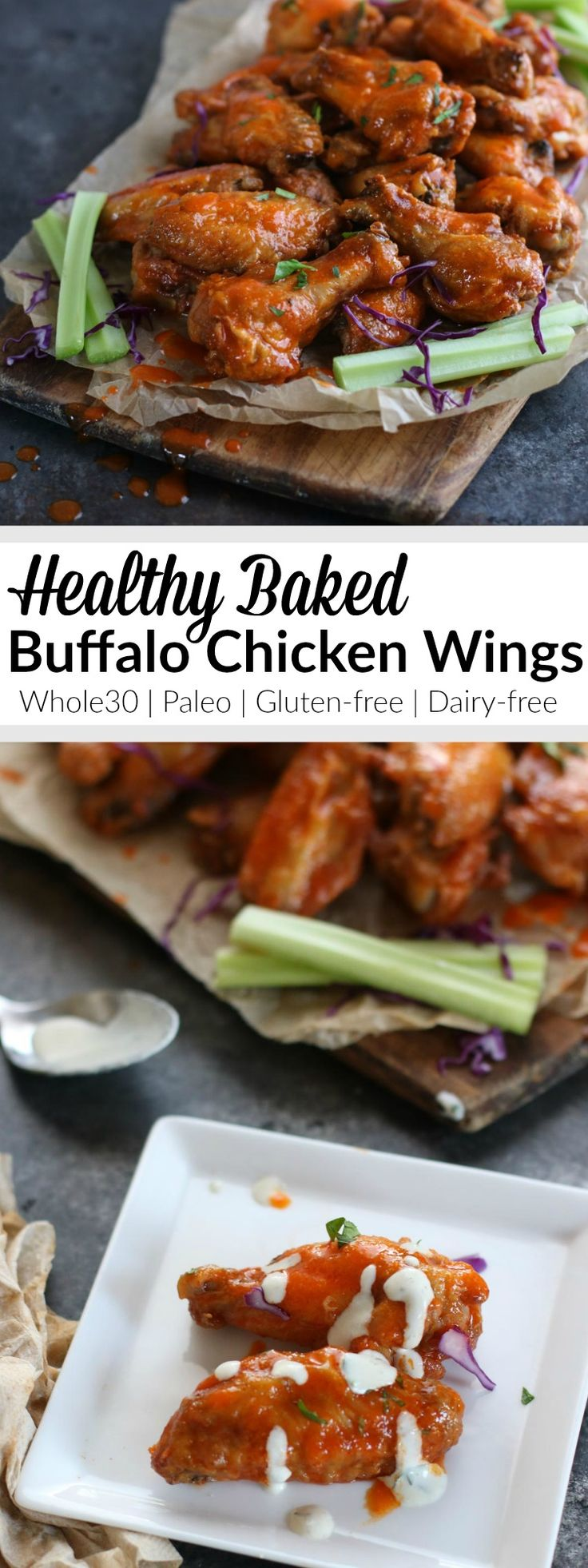 One simple ingredient gives these wings the crispy skin you crave without frying. Tossed with a 5-ingredient Buffalo sauce, they're every bit as good as the real thing - only healthier! | http://therealfoodrds.com/crispy-baked-buffalo-wings/