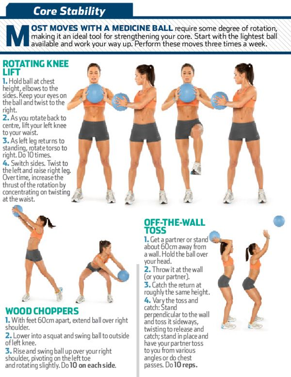 Core-Stability - if you don't have a medicine ball you can do these exercises using 2 small dumbells or even 2 weighted items from your kitchen that fit your hands comfortably. Just don't throw them at the wall! :o)