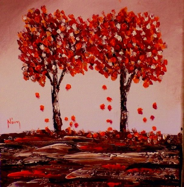 Abstract painting abstract tree red palette knife by noni pulga