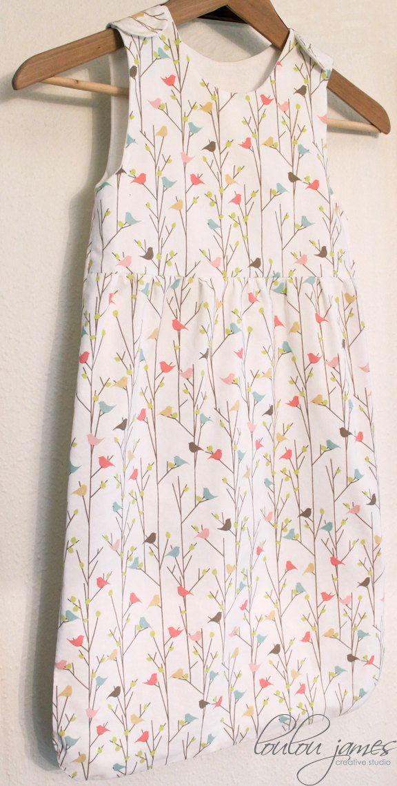 Reverie infant/toddler sleep sack PDF pattern in printed cotton with a soft jersey lining.