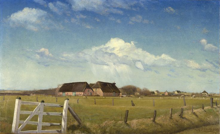 L. A. Ring (1854-1933) Fenced-in Pastures by a Farm with a Stork's Nest on the Roof, Skærbæk, 1903 Oil on canvas 57.5 × 94.5 cm Inv. no. B 410