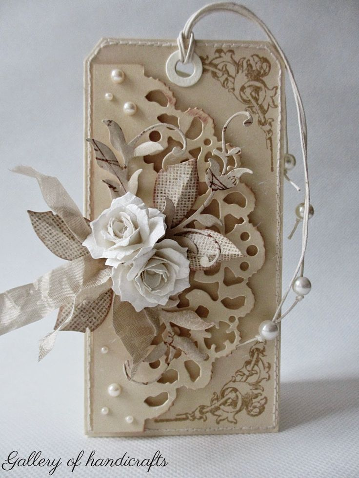 Gallery of handicrafts, cream and taupe tag