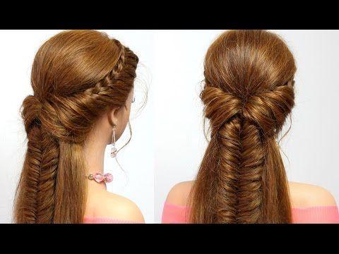 Braided hairstyle for everyday. Medium long hair tutorial - YouTube