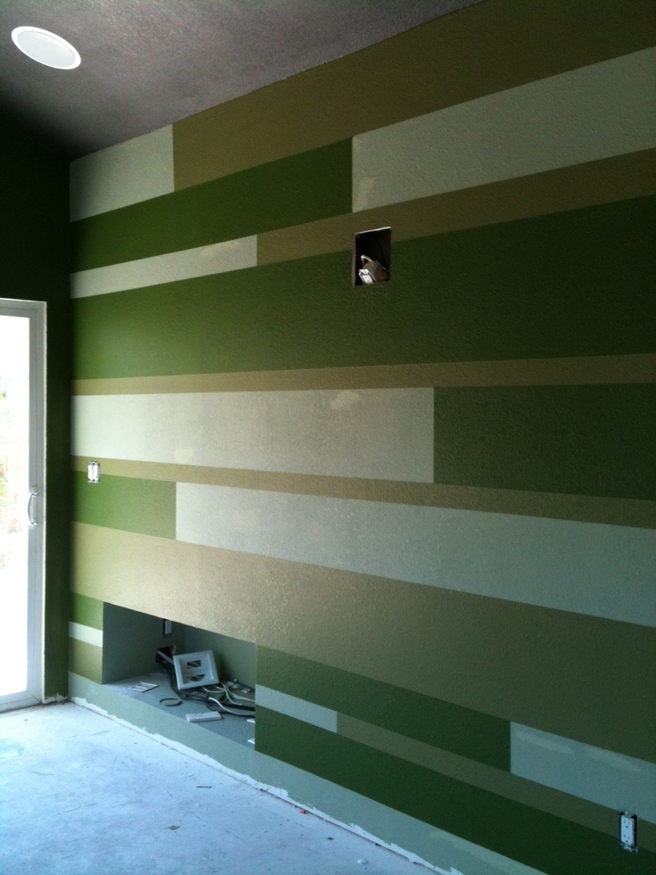 Green pinstripe wall feature walls pinterest for Green feature wall