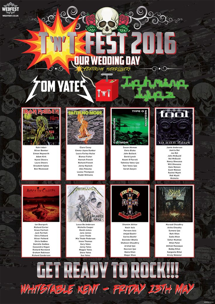 tnt rock and roll wedding table seating plan http://www.wedfest.co/rock-and-heavy-metal-influenced-wedding-table-plans/
