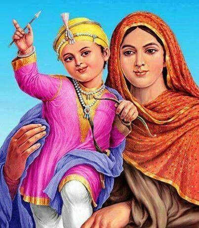 Mata Gujri Ji with childhood Guru Gobind Singh Ji
