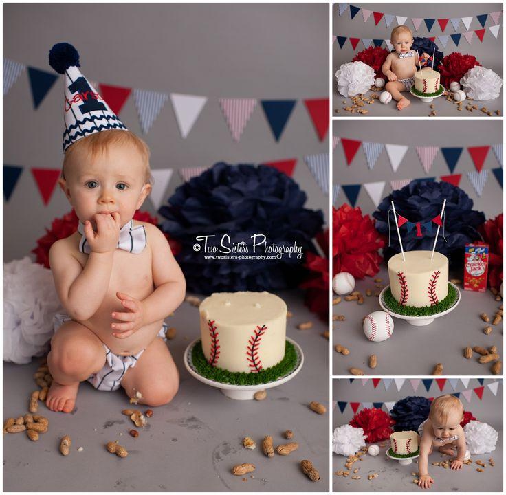 Two Sisters Photography Cake smash sessions, baseball cake smash, baseball theme, red white and blue, classic baseball