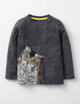 Owl/Charcoal Marl Super Stitch T-shirt Boden