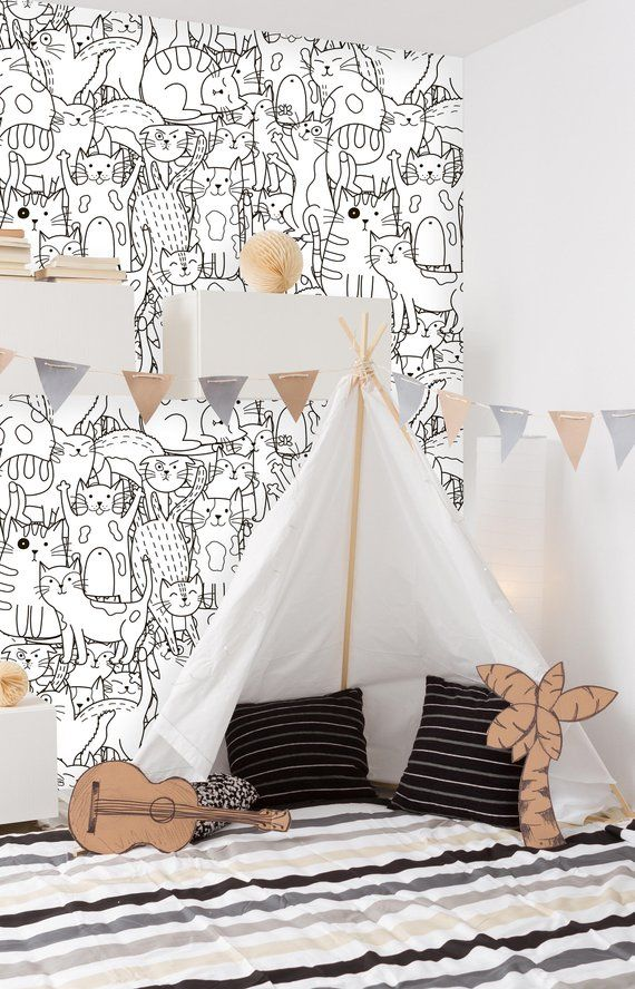 Removable Nursery Wallpaper L Stick Doodle Cats Seamless Pattern Self Adhesive In 2018 Kids Room S