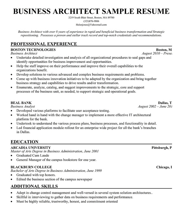 business architect resume example   free resume