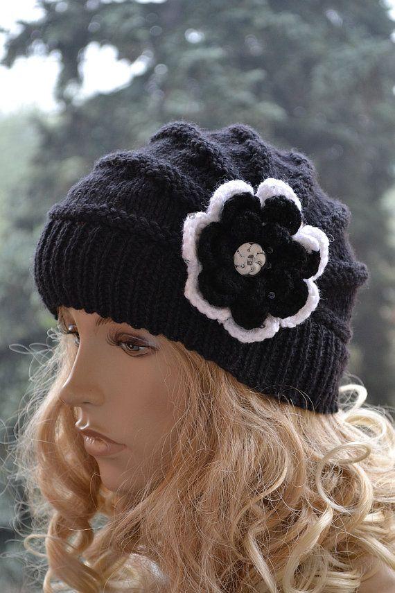 Knitted cap in flower cap hat lovely warm autumn by DosiakStyle #blackcap #flowercap #knittedcap