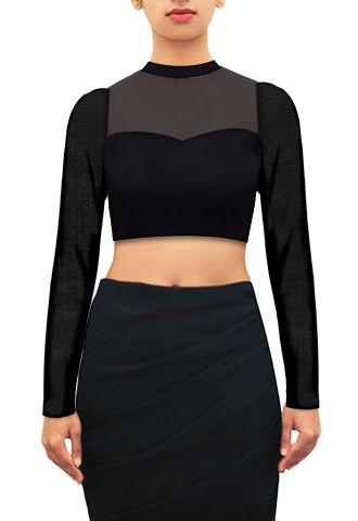 Black sheer yoke georgette blouse