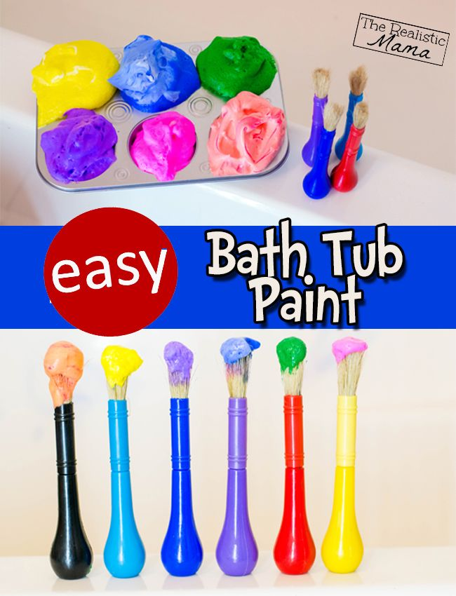 Easy homemade bathtub paint - we tried this and the kids loved it. And it washed off the bath walls with no problem.