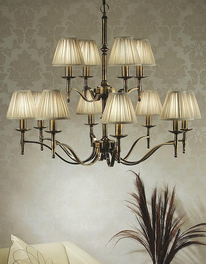 Stanford 12 Light Brass Chandelier