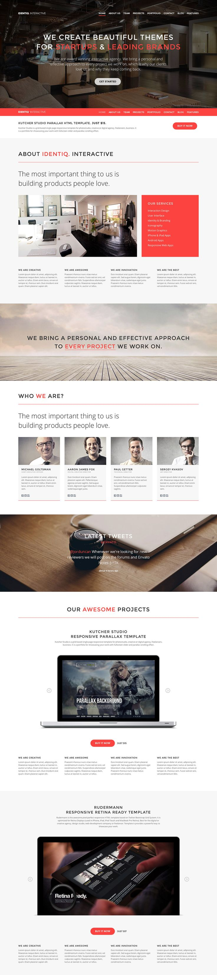 best images about web design inspiration landing identiq is a slick responsive one page template for any creative studio or business