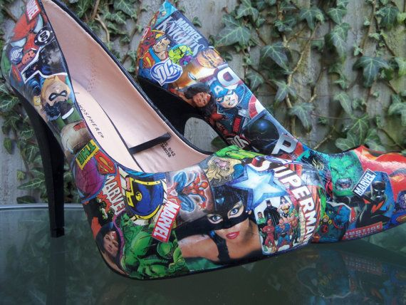 Decoupage shoes  Comic strip with free shipping  by Gemzgemz, £28.00 now only until sunday! Normally £35.00