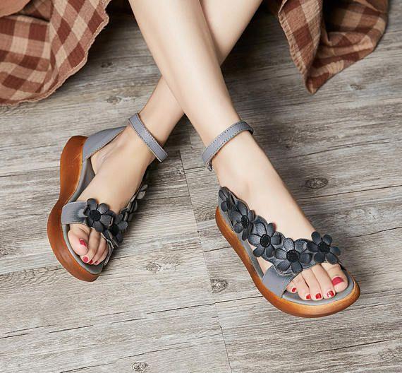 Sandalias de mujer hechos a mano con Flatform de flores