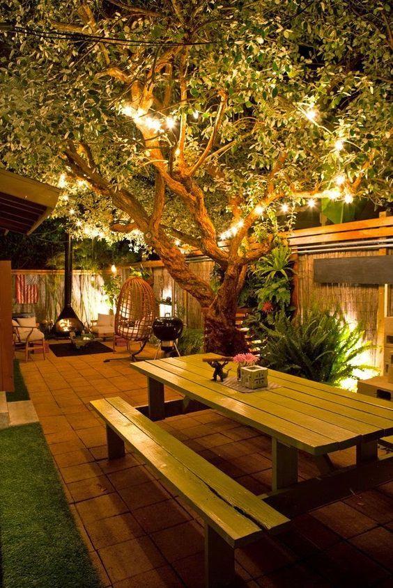 Garden lights aglow.. Outdoor living-Pretty!: