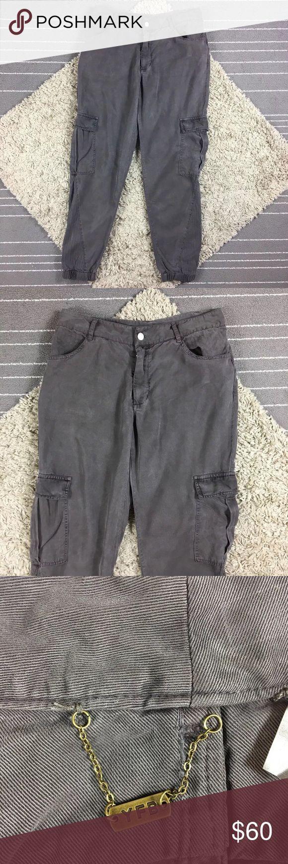 "YFB Cargo Pants Brown Joggers Size Medium 100% tencel, waist 15.5"", rise 9.5"", inseam 27.5"" Young Fabulous & Broke Pants Track Pants & Joggers"
