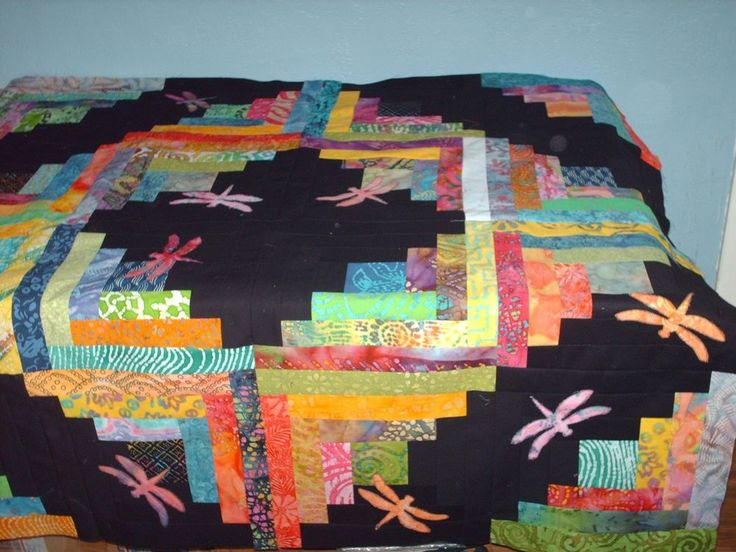 Batik Dragonfly garden log cabin quilt top