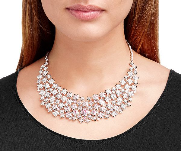 The Cherie Large Necklace sparkles in a feminine gradation of pink Swarovski crystals. This piece would be stunning as a statement necklace for a bridal gown.