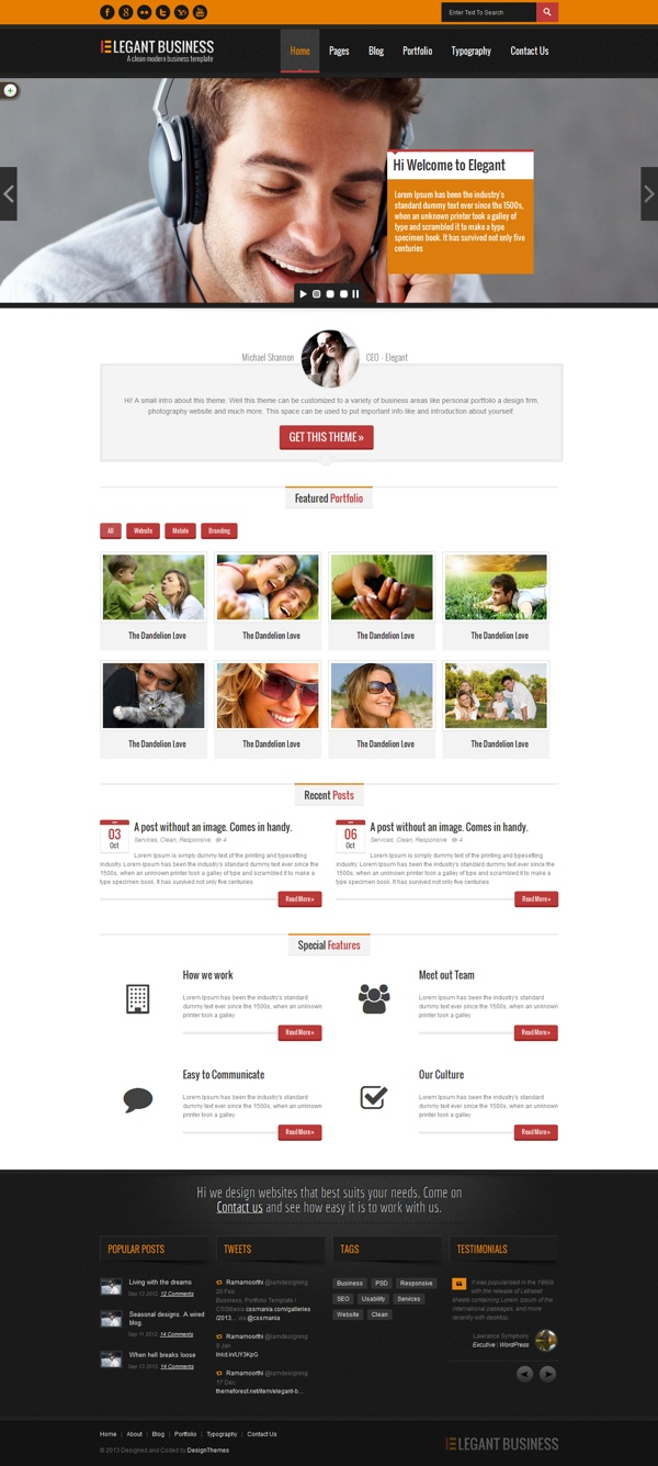 111 best website templates images on pinterest wordpress template elegant business multipurpose responsive web template by designthemes via behance solutioingenieria Images