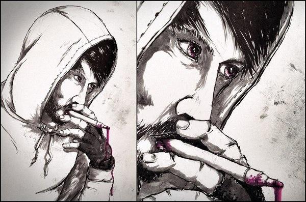 Ink addicted by Jonas Wüllner, via Behance #ink #drawing