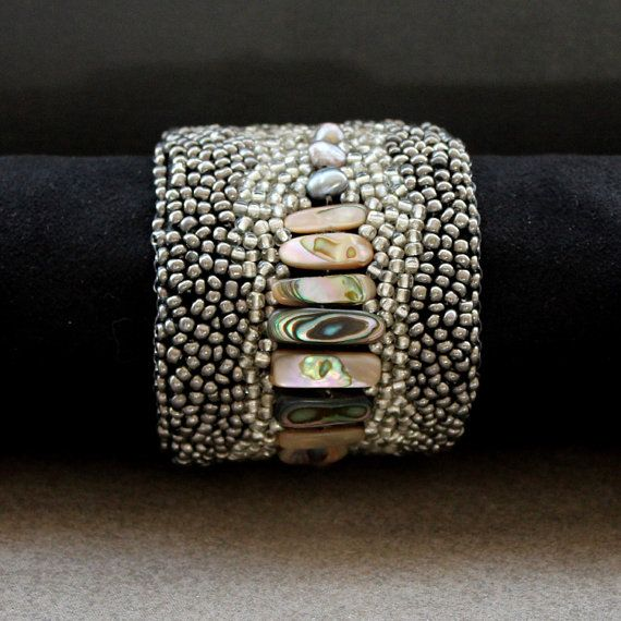 Beaded Cuff Bracelet with pearls and abalone by AlixH2010 on Etsy, $75.00