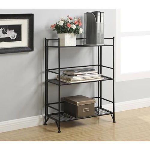 3 Tier Folding Bookcase Metal Black Shelf Unit Garage Portable Storage Holder  #FoldingBookcase #Modern