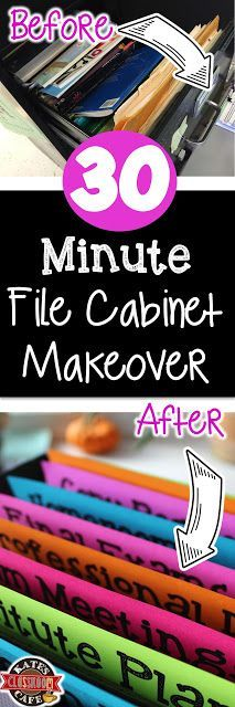 File cabinet makeover in 30 minutes for classroom organization - This is awesome!  She has editable templates included (Minutes Template)