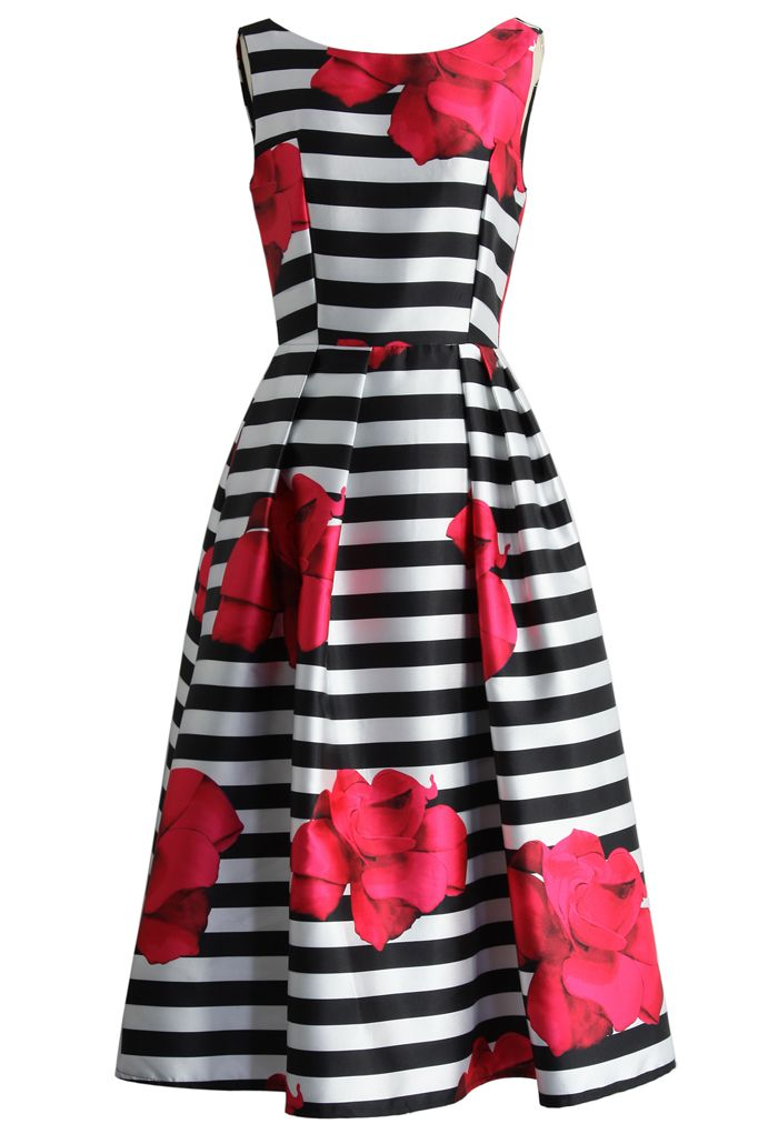 Flirty Roses Striped Prom Dress - Floral - Dress - Retro, Indie and Unique Fashion