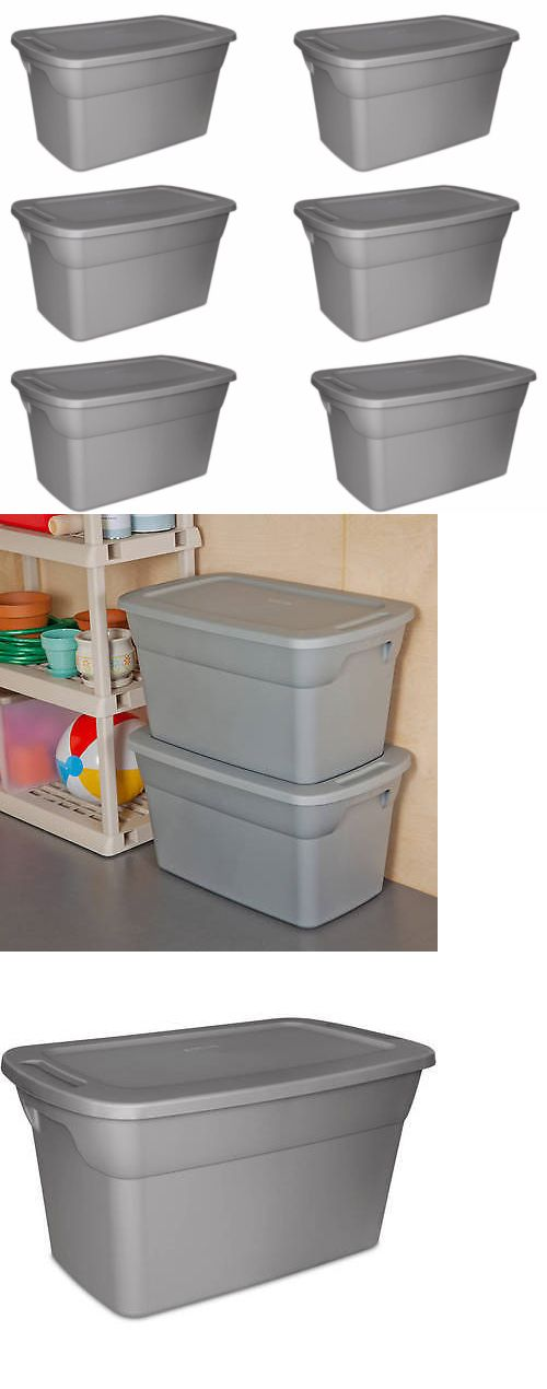 Storage Boxes 159897: Set Of 6 Plastic Storage Containers Tote Box Organizer 30 Gallon Home Garage -> BUY IT NOW ONLY: $70 on eBay!