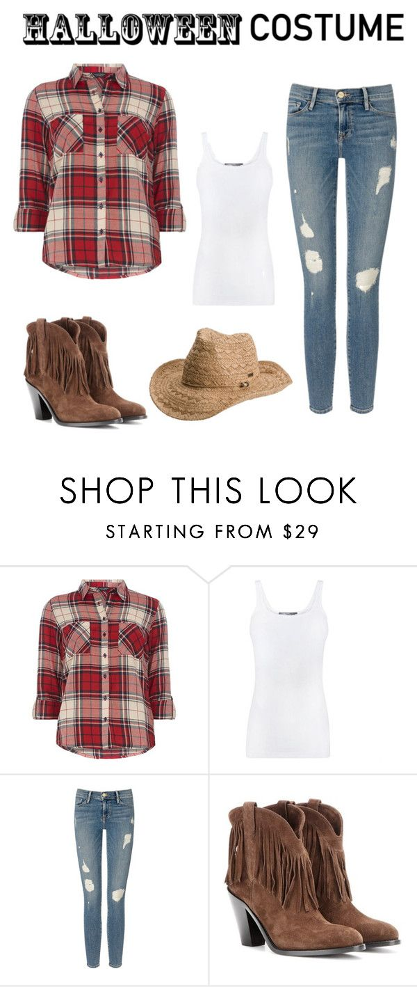 """DIY Cowgirl Costume"" by elainapierce ❤ liked on Polyvore featuring Dorothy Perkins, Vince, Frame Denim, Yves Saint Laurent, Roxy, halloweencostume and DIYHalloween"