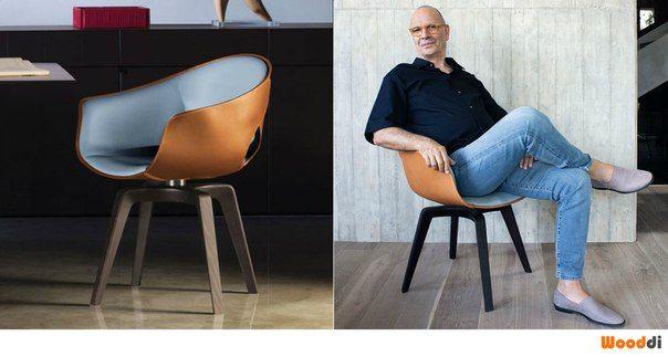 Wooddi Design - стул Gonger от Roberto Lazzeroni. Дизайнеский оригинальный стул с кожаной обивкой.