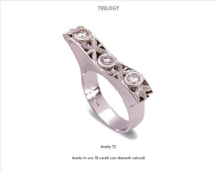 Engraved White Gold & Diamonds Trilogy by Meli Gioielli Firenze