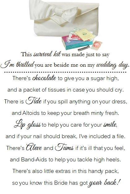 A Cute Poem For A DIY Bridesmaid Survival Kit