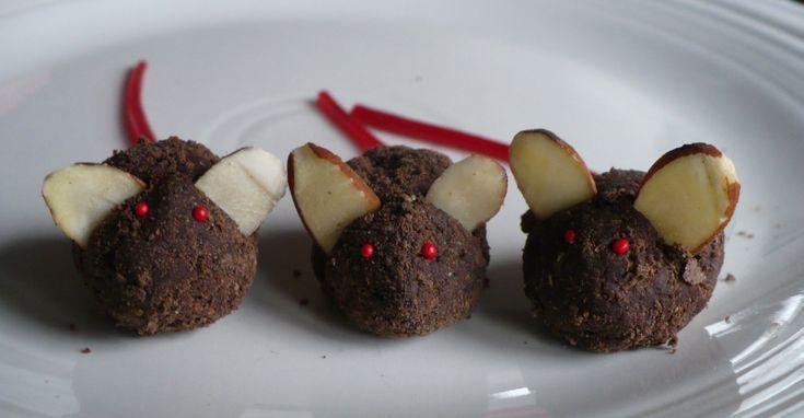 She calls them christmas mice, I say Halloween mice!  Cookie recipe.