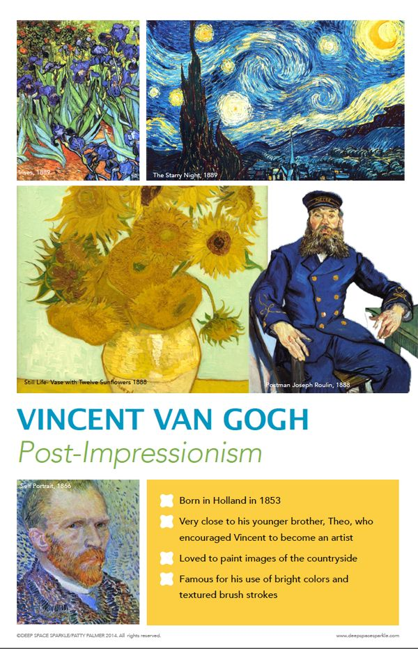 Van Gogh Art Poster for elementary school. Printing instructions included