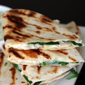 Chicken, Spinach, Goat Cheese Quesadillas with an Avocado Sour Cream (I've made these and they are delicious!)