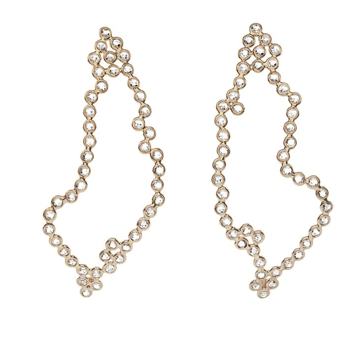 "Pink gold ""stalactites"" pair of earrings with rose cut diamonds. www.lito-jewelry.com"